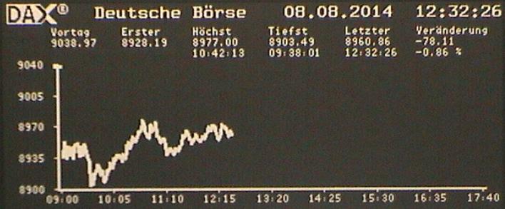 Deutsche Börse. Live-Blick in den Handelssaal.